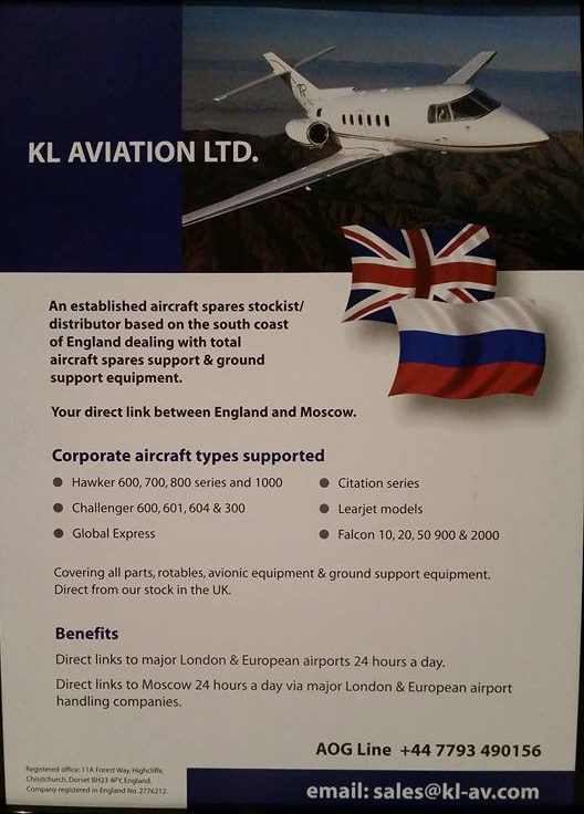 Flyer from KL Aviation of Christchurch, UK